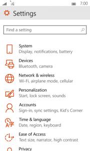 قائمه الإعدادات فى ويندوز 10 للهواتف