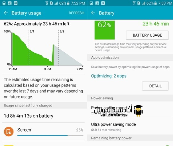 Samsung Galaxy A5 2016 battery usage