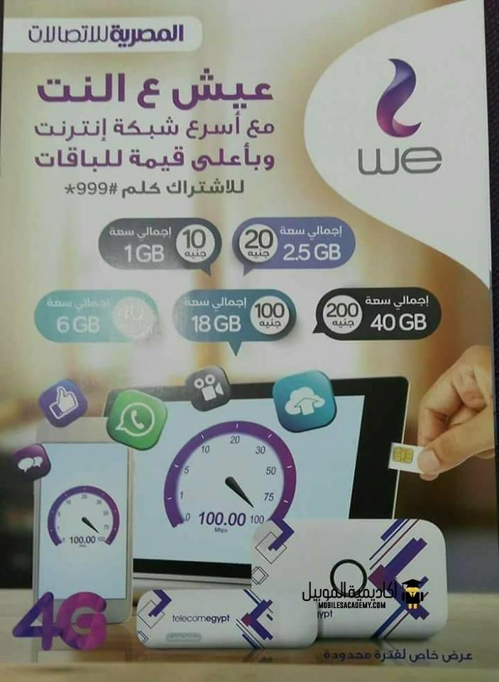 اسعار باقات الانترنت لشبكة المحمول We للمصرية للاتصالات