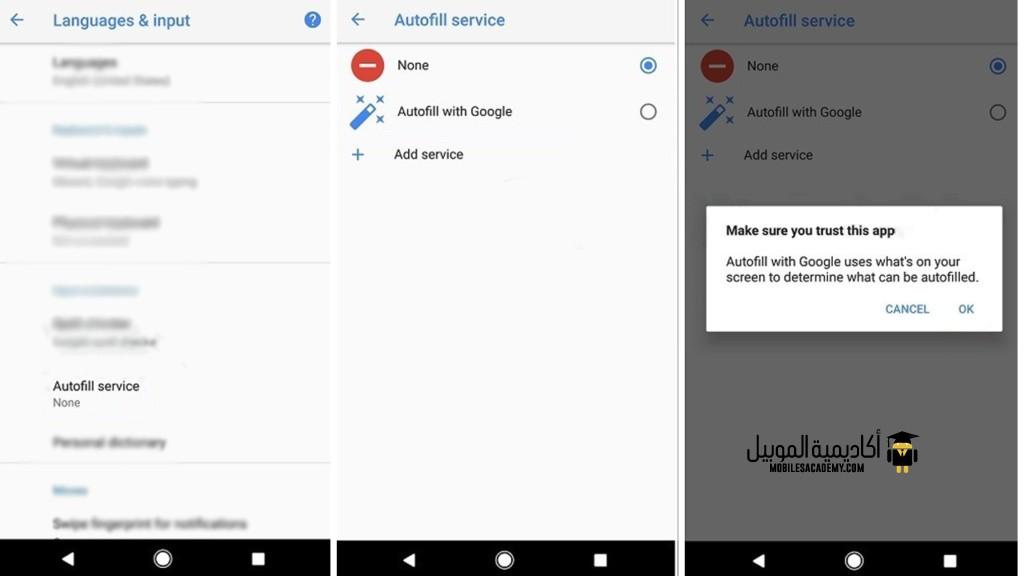 android oreo Password autofill